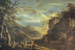 River Landscape with Apollo and the Cumaean Sibyl, c.1655 von Salvator Rosa | Gemälde-Reproduktion