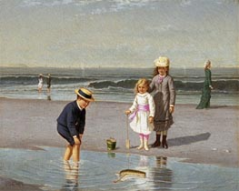 Children on the Beach, c.1879/81 by Samuel Carr | Painting Reproduction