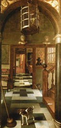 Perspective View Down a Corridor | Hoogstraten | Painting Reproduction