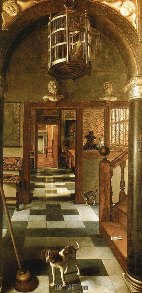 Perspective View Down a Corridor, 1662 | Hoogstraten | Painting Reproduction