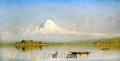 Mount Rainier, Bay of Tacoma - Puget Sound, 1875 | Sanford Robinson Gifford | Painting Reproduction