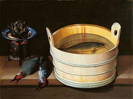 Tub with Carp, Brazier with Artichoke and Green Woodpeckers, undated by Sebastian Stoskopff | Painting Reproduction