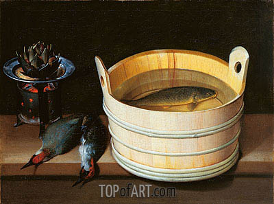 Tub with Carp, Brazier with Artichoke and Green Woodpeckers, undated | Sebastian Stoskopff | Painting Reproduction