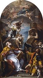 A Glory of the Virgin with the Archangel Gabriel and Saints Eusebius, Roch and Sebastian, c.1724/25 by Sebastiano Ricci | Painting Reproduction