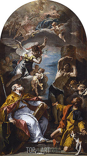 A Glory of the Virgin with the Archangel Gabriel and Saints Eusebius, Roch and Sebastian, c.1724/25 | Sebastiano Ricci | Gemälde Reproduktion