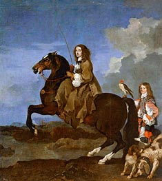 Christina of Sweden on Horseback, undated by Sebastien Bourdon | Painting Reproduction