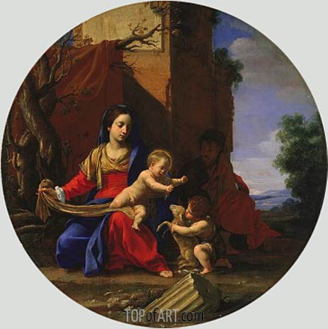 Holy Family with the Infant Saint John the Baptist, 1626 | Simon Vouet | Gemälde Reproduktion