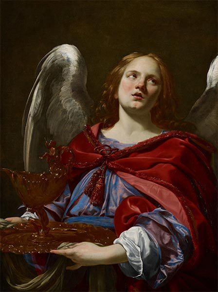 Angel Holding the Vessel and Towel, 1627 | Simon Vouet | Gemälde Reproduktion