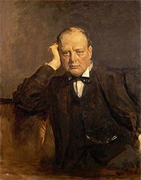 Sir Winston Churchill, Statesman, c.1918/30 von Sir James Guthrie | Gemälde-Reproduktion