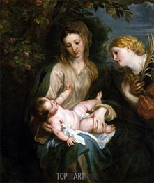 Virgin and Child with Saint Catherine of Alexandria, undated by van Dyck | Painting Reproduction