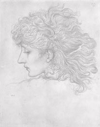 Head of a Young Woman, Profile | Burne-Jones | Painting Reproduction