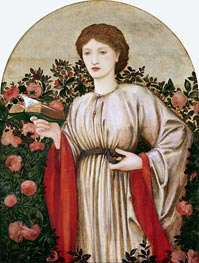 Girl with Book with Roses Behind, undated by Burne-Jones | Painting Reproduction