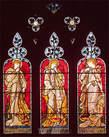 Three Trumpeting Angels, Undated | Burne-Jones | Painting Reproduction