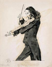 Niccolo Paganini Playing the Violin, 1831 by Landseer | Painting Reproduction