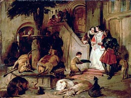 A Courtyard in Olden Times, c.1834 by Landseer | Painting Reproduction