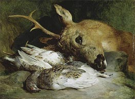 Head of a Roebuck and Two Ptarmigan | Landseer | Gemälde Reproduktion