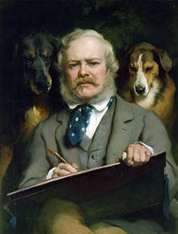 The Connoisseurs: Portrait of the Artist with two Dogs | Landseer | Painting Reproduction