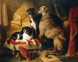 Hector, Nero and Dash with the Parrot Lory, 1838 von Landseer | Gemälde-Reproduktion
