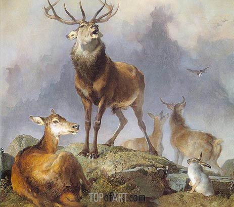 Scene in Braemar - Highland Deer, 1857 | Landseer | Painting Reproduction