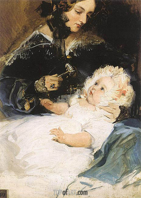 The Duchess of Abercorn and her Daughter, 1834 | Landseer | Gemälde Reproduktion