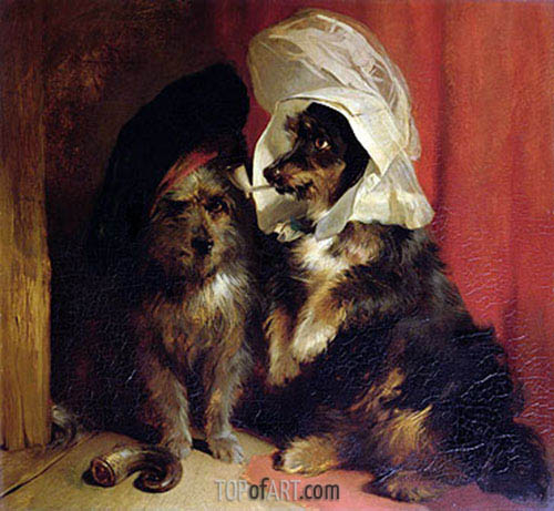 Comical Dogs, 1836 | Landseer | Gemälde Reproduktion