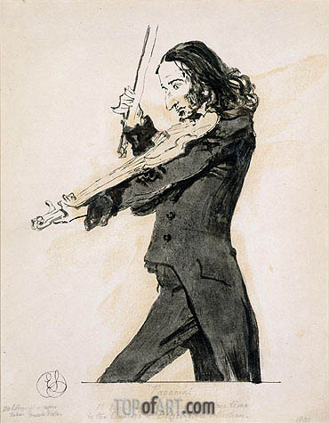 Niccolo Paganini Playing the Violin, 1831 | Landseer | Gemälde Reproduktion