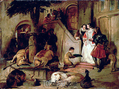 A Courtyard in Olden Times, c.1834 | Landseer | Painting Reproduction