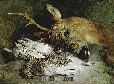 Head of a Roebuck and Two Ptarmigan, c.1830 | Landseer | Painting Reproduction