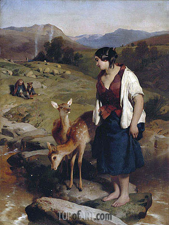 The Highland Lassie, 1850 | Landseer | Painting Reproduction