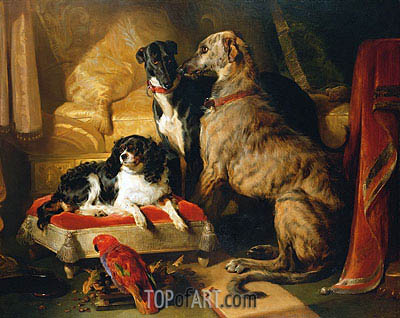 Hector, Nero and Dash with the Parrot Lory, 1838 | Landseer | Painting Reproduction
