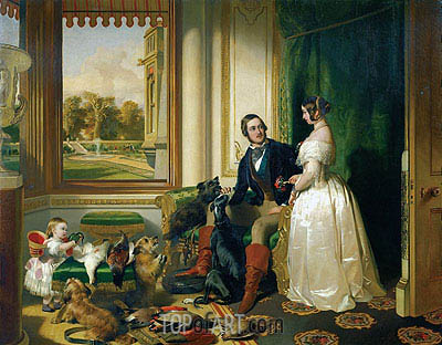 Queen Victoria, Prince Albert and Victoria, Princess Royal, c.1841/45 | Landseer | Painting Reproduction