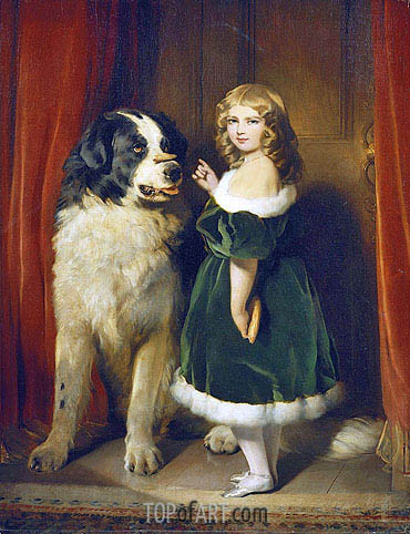 Princess Mary Adelaide of Cambridge with 'Nelson' a Newfoundland Dog, c.1839 | Landseer | Painting Reproduction
