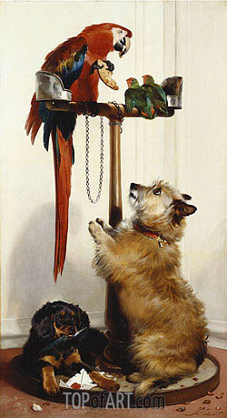 Islay, Tilco a Macaw and Two Love-Birds, 1839 | Landseer | Painting Reproduction