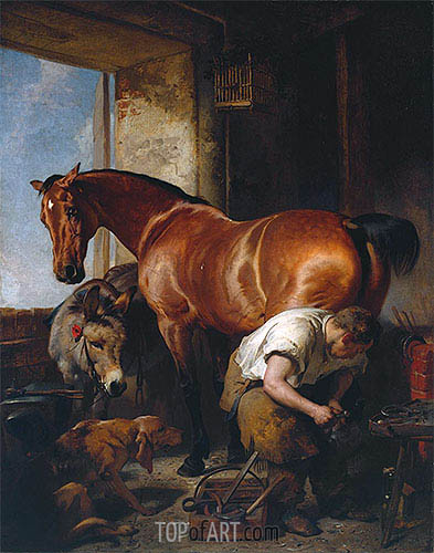 Shoeing, 1844 | Landseer | Painting Reproduction