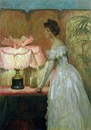 Lamplight Study of Interior with Lady | Frank Dicksee | Painting Reproduction