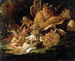 Puck and Fairies, from 'A Midsummer Night's Dream', c.1850 von Joseph Noel Paton | Gemälde-Reproduktion
