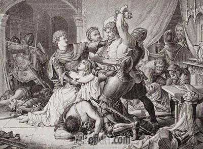 The Seizure of Roger de Mortimer in Nottingham Castle, 19th October 1330, undated | Joseph Noel Paton | Painting Reproduction