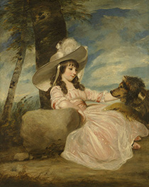 Portrait of Miss Anna Ward with Her Dog | Reynolds | Painting Reproduction