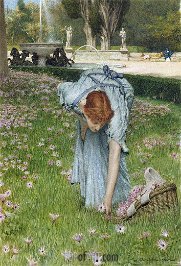Flora - Spring in the Gardens of the Villa Borghese, 1877 | Alma-Tadema | Painting Reproduction