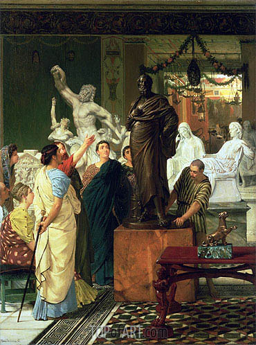 A Sculpture Gallery in Rome at the Time of Augustus, 1867 | Alma-Tadema | Painting Reproduction