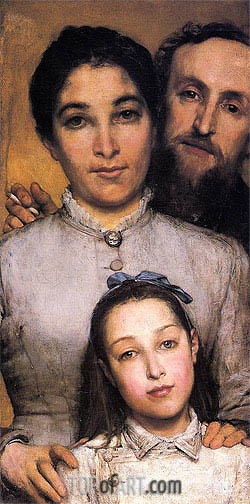 Portrait of Aime-Jules Dalou his Wife and Daughter, 1876 | Alma-Tadema | Painting Reproduction