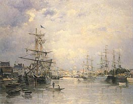 The Port of Caen, 1859 by Lepine | Painting Reproduction