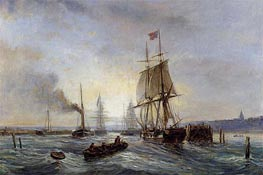 Entrance to the Port, c.1858/60 by Lepine | Painting Reproduction
