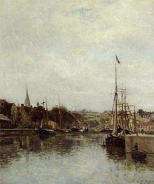 Caen, The Dock of Saint-Pierre, c.1860/64 by Lepine | Painting Reproduction