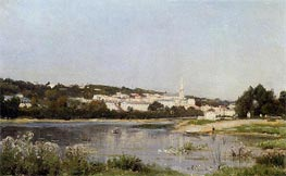 The Banks of the Seine at Saint Cloud, c.1872/77 by Lepine | Painting Reproduction