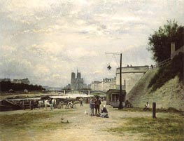 The Louviers Quay at Pont Sully (Henri IV Quay), c.1875 by Lepine | Painting Reproduction