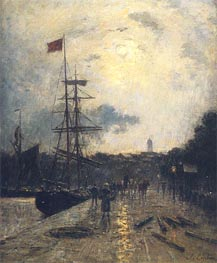 A Quay at Caen, undated by Lepine | Painting Reproduction