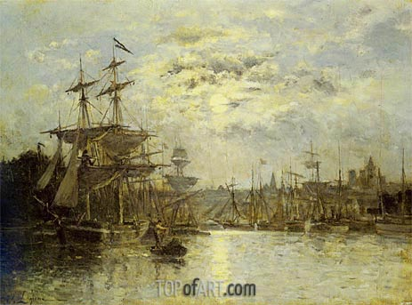 Bassin a Caen. Effet de lune, undated | Lepine | Painting Reproduction