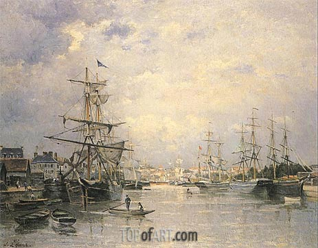 The Port of Caen, 1859 | Lepine | Painting Reproduction