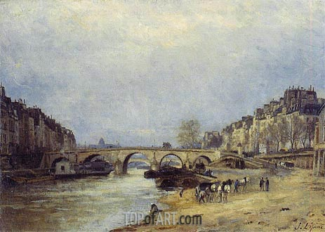 The Seine at Pont Marie, c.1874/77 | Lepine | Painting Reproduction